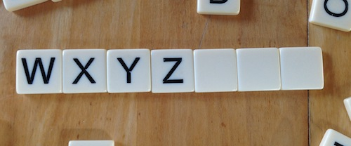 Letter squares for w, x, y, z and three blank squares
